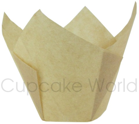 25PC CAFE STYLE NATURAL PAPER CUPCAKE MUFFIN WRAPS JUMBO